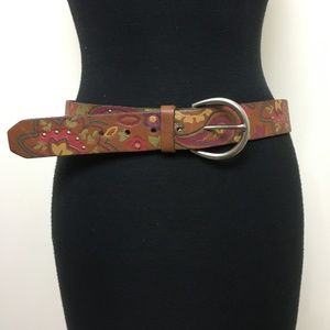 Fossil Genuine Leather Tooled Brown Floral Medium